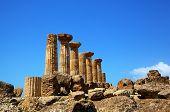 Dorian columns of Temple of Hercules (Ercole Temple) in Agridgento Valley. Sicily, Italy
