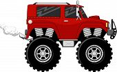 stock photo of monster-truck  - illustration of big wheels red monstertruck cartoon isolated on white background - JPG