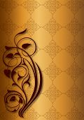 Golden floral patterns on golden background
