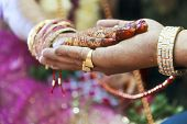 stock photo of sari  - Horizontal color capture taken at a hindu wedding in Surat India - JPG