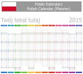 2015 Polish Planner-2 Calendar with Vertical Months