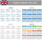 2015 English Mix Calendar Sun-Sat