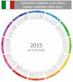 2015 Italian Circle Calendar Mon-Sun