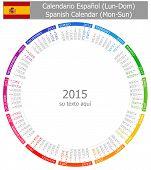 2015 Spanish Circle Calendar Mon-Sun