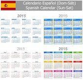 2015 Spanish Mix Calendar Sun-Sat