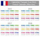2015-2018 Type-1 French Calendar Mon-Sun