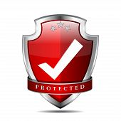 Protected Tick Mark Shield Vector Icon