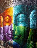 Colored Cambodian Buddha Face