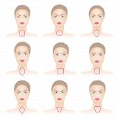 picture of oblong  - Set of woman face shapes on abstract background - JPG