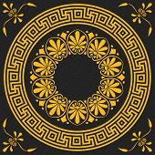 stock photo of greek  - set Traditional vintage golden square and round Greek ornament  - JPG