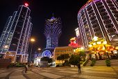 MACAU, CHINA - OCTOBER 31, 2012: Bank of China, casino Grand Lisboa and Lisboa evening. Macau is the