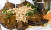image of nuong  - vietnamese food bo nuong sate grilled beef sate skewers with crushed peanut and sate dipping sauce - JPG
