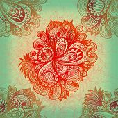 Abstract Hand Drawn Floral Ornament Over The Grunge Background. Eps10