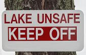 Unsafe Lake Sign