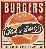 Retro burger vector sign design