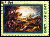 Vintage  Postage Stamp.  Landscape With Rainbow By Rubens.