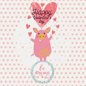 Gentle funny piglet angel in cartoon style. Cute Valentines day card in vector. Childish background with polka dot in pastel colors