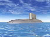 image of u-boat  - Computer generated 3D illustration with a modern Russian Submarine - JPG