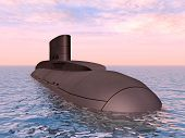 foto of u-boat  - Computer generated 3D illustration with a modern Russian Submarine - JPG