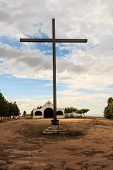 stock photo of chapels  - detail of a Christian cross in a chapel - JPG