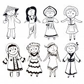 Cartoon women in different traditional costumes