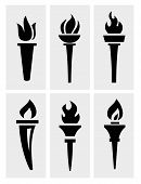 stock photo of torches  - torch icons set - JPG