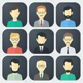 image of male face  - Colorful Male Faces App Icons Set in Trendy Flat Style - JPG