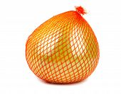 picture of pomelo  - Wrapped in plastic reticle ripe pomelo on white background - JPG