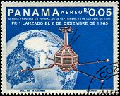 PANAMA - CIRCA 1966: A stamp printed in Panama shows Earth, FR-1 satellite, circa 1966