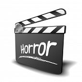 detailed illustration of a clapper board with horror term, symbol for film and video genre