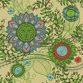 Elegant Hand Drawn Seamless Vintage Floral Background
