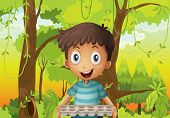 stock photo of hollow log  - Illustration of a boy holding an empty eggtray in the forest - JPG