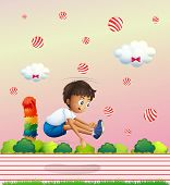 Illustration of a boy exercising in the candyland