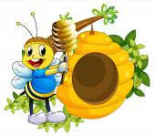 image of beehive  - Illustration of a happy bee playing with the honey near the beehive on a white background - JPG