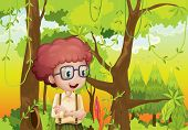 stock photo of hollow log  - Illustration of a curly boy in the forest near the trees - JPG