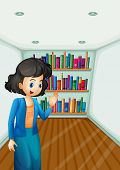 Illustration of a teacher presenting the books in the bookshelves