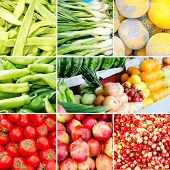 Set Of Fresh Organic Vegetables And Fruits At The Village Market