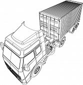 Truck and trailer with container