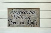 Ancient street name sign in the Upper Town of Zagreb, Croatia. Restorers have uncovered archaic bili