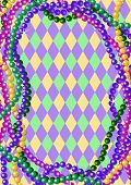 Mardi Gras beads background with place for text. Raster version