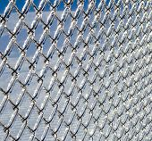 stock photo of chain link fence  - Ice covered chain link fence from a severe icestorm - JPG