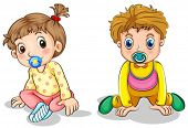 foto of pacifier  - Illustration of a little boy and a little girl on a white background - JPG