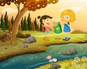Illustration of the two girls eating junkfoods at the riverbank