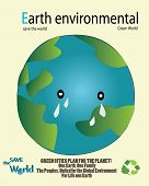 save the world-Earth crying because of pollution everywhere