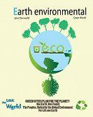 Save the world- tree and eco logo Illustration.