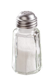 stock photo of salt shaker  - Glass salt shaker with stainless steel top - JPG