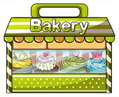 Illustration of a green bakery store on a white background