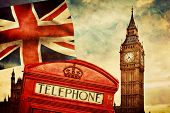 Symbols of London, England, the UK. Red telephone booth, Big Ben and the national flag Union Jack. V