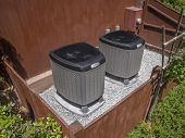image of hvac  - HVAC heating and air conditioning residential units in a residential house - JPG