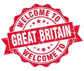 Welcome To Great Britain Red Grungy Vintage Isolated Seal